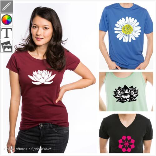 T-shirts fleurs personnalisés, marguerite, pâquerette, motifs floraux à imprimer en ligne.