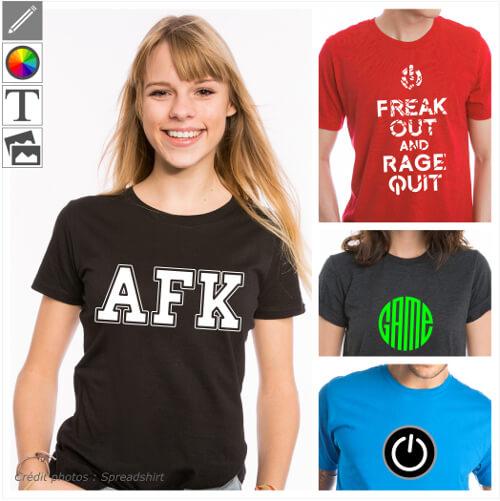 T-shirts gaming personnalisés, designs game et jeu vidéo à adapter et imprimer en ligne.