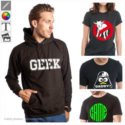 T-shirts geek à personnaliser, designs geek, nerd, programmeur etc.
