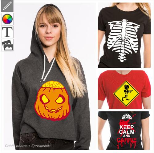 T-shirts et designs pour Halloween, citrouilles, monstres, zombies.