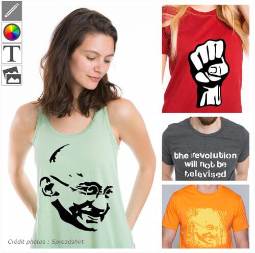 T-shirts histoire personnalisés, personnages historiques et symboles.