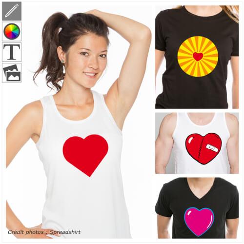 Créer son t-shirt I love personnalisé en ligne avec es cœurs personnalisables en format vectoriel à modifier dans le designer