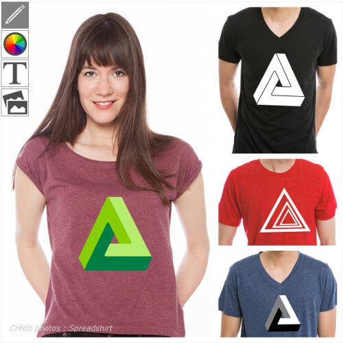T-shirts illusion d'optique personnalisés, triangles impossibles, penrose, illusions à imprimer en ligne.