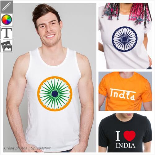 T-shirts Inde, drapeaux indiens et motifs floraux à personnaliser en ligne.