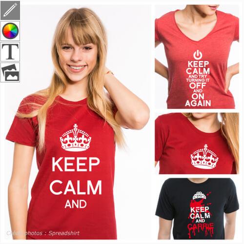 T-shirts keep calm personnalisés à créer soi-même. Imprimez votre blague keep calm en ligne.