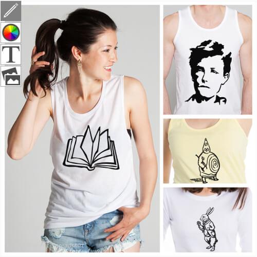 T-shirts littérature personnalisés, designs à modifier dans le designer et imprimer sur l'article de votre choix.