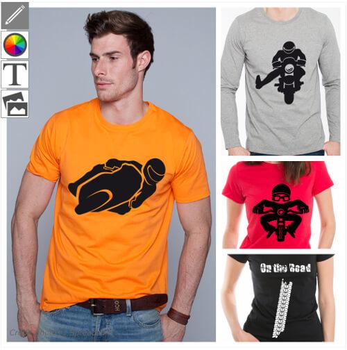 Personnaliser votre t-shirt moto en ligne, avec un design motard spécial impression.