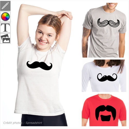 Imprimer votre t-shirt moustache en ligne avec un design moustache spécial impression sur t-shirt, tasse, etc.