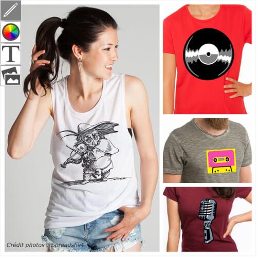 T-shirts musique à personnaliser et imprimer soi-même, designs disque, radio, musique vintage.