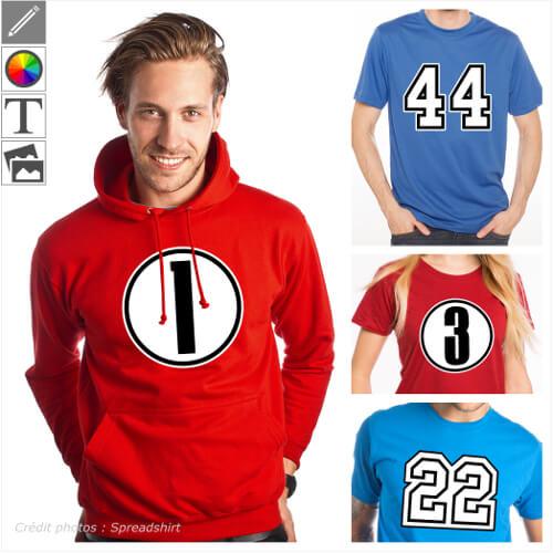 T-shirts nombres à personnaliser, numéros de département, âge, chiffres sport.