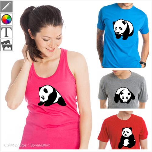 Pandas à personnaliser en ligne. Pandas kawaii, bébé panda sur le ventre, gros panda assis, choisissez le design qui vous plaît et imprimez-le en lign