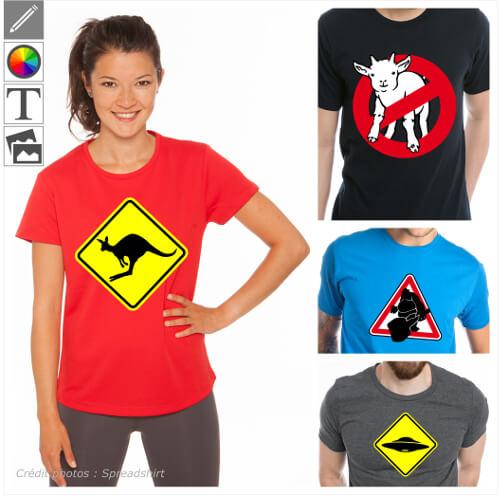 T-shirts panneaux de signalisation humoristiques. Créez un t-shirt humour avec un panneau détourné personnalisé et imprimez-le en ligne.