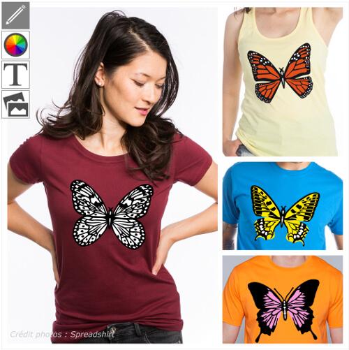 T-shirts papillons personnalisés, designs décoratifs et colorés pour créer un t-shirt papillon original.