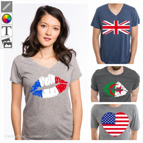 T-shirts drapeaux et pays personnalisés, designs géographie et couleurs de votre drapeau.