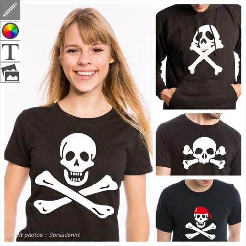 T-shirts pirate et drapeaux pirate personnalisés, têtes de mort, jack sparrow, jolly roger.