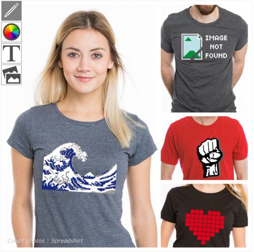 T-shirts pixels et pixel art, designs nerd et 8bits à personnaliser dans le designer et imprimer en ligne.