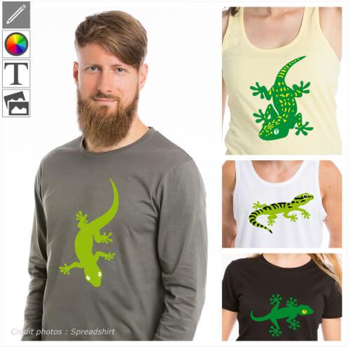 T-shirts reptiles, gecko stylisés à modifier en ligne et imprimer syr t-shirt, tasse, sac etc.