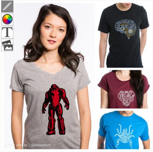T-shirts robots personnalisés. Choisissez votre design de robot rigolo ou futuriste et créez un t-shirt robot original.