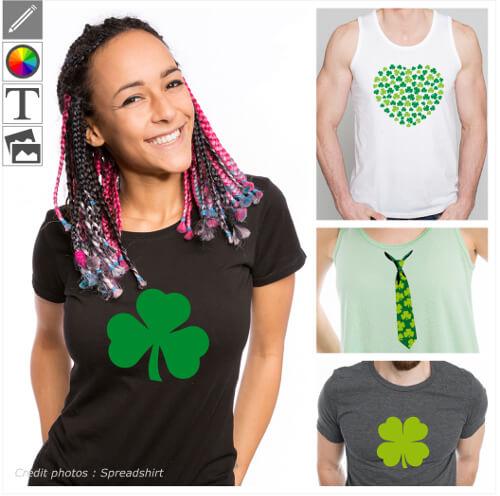 T-shirts Saint Patrick personnalisés, shamrocks, trèfles irlandais et drapeau Irlande à personnaliser dans le designer et imprimer en ligne.