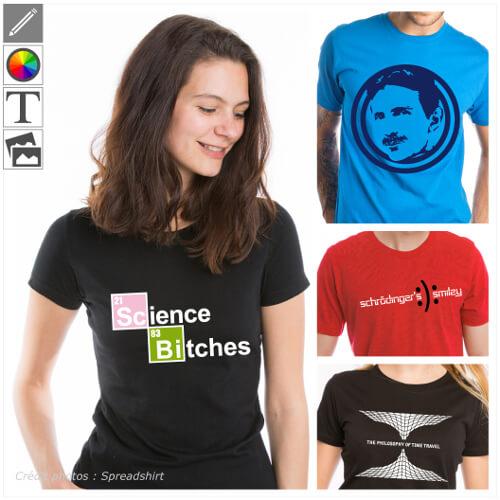 T-shirts science à personnaliser soi-même en ligne, table périodique, scientifiques.