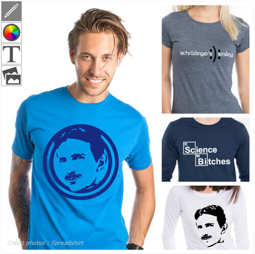 T-shirts scientifiques à personnaliser et imprimer en ligne. Créez votre t-shirt Tesla pour Tesla Day.