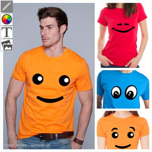 T-shirts smiley, yeux, sourires et petits personnages. Personnalisez un design et imprimez votre t-shirt smiley original en ligne.