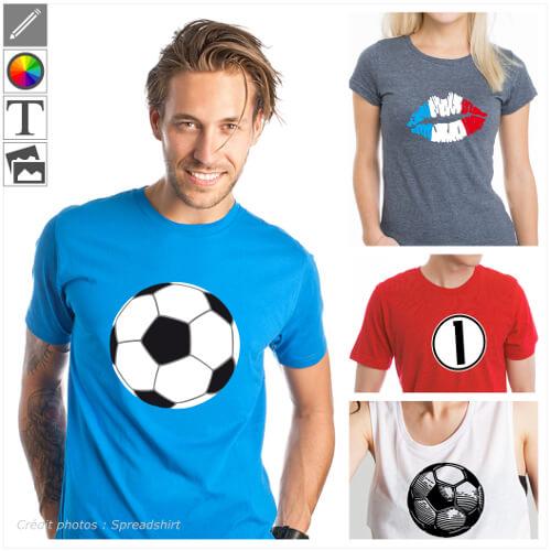 T-shirts sport personnalisés. Créez votre t-shirt football ou ballon en ligne, imprimez un maillot aux couleurs de votre pays.