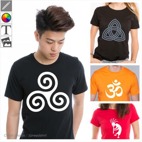 T-shirts symboles à personnaliser en ligne, design signes et motifs symboliques à adapter dans le designer.