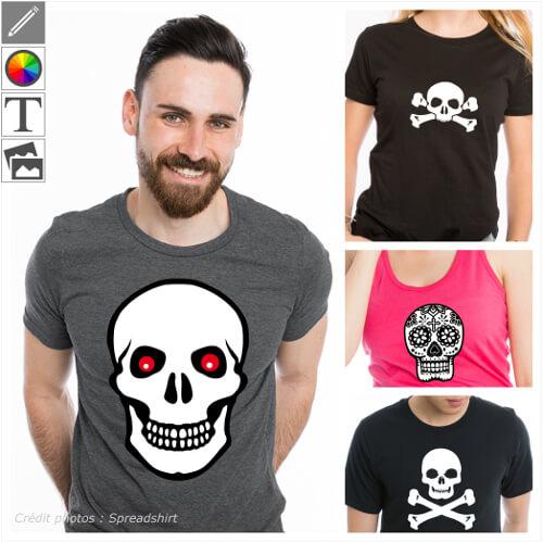 T-shirts tête de mort personnalisés. Crânes, têtes de mort et os croisés, têtes stylisées, choisissez votre motif à personnaliser et imprimer en ligne