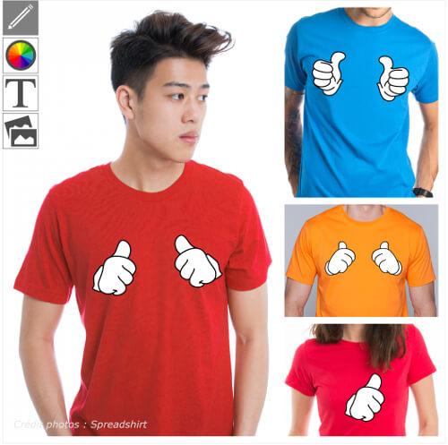 T-shirts thumbs up personnalisés. Imprimez un design pouce levé sur le t-shirt de votre choix et créez un vêtement original.