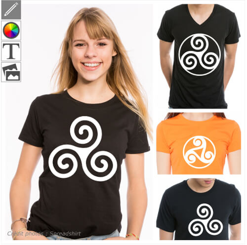 Créer un t-shirt triskel personnalisé avec ces symboles bretons à 3 spirales spécial impression en ligne.