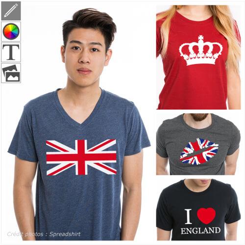 T-shirts uk, drapeau anglais et designs Union Jack à imprimer en ligne.