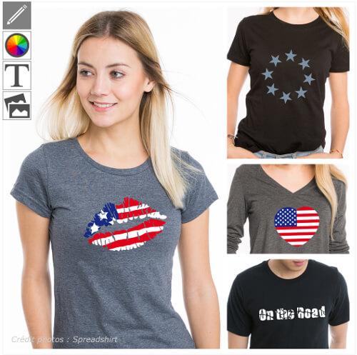 T-shirts usa personnalisés, drapeau américain et designs US à imprimer en ligne.