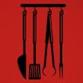 Fourchettes spatules et couteaux stylisés à imprimer sur tablier personnalisé.