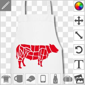 Vache en découpage de boucher à imprimer sur tablier.