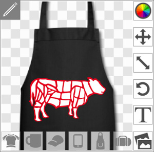 Vache deux couleurs découpée en steak et morceaux de boucher.
