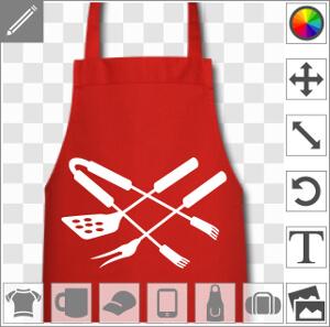 Spatule et fourchette croisées avec une pince à viande, un design une couleur spécial impression en ligne à imprimer sur tablier ou t-shirt spécial ba