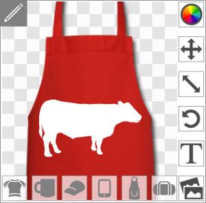 Vache dessinée de profil à personnaliser et imprimer sur votre tablier de cuisine personnalisé.