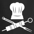 Chef pirate, un design pour la cuisine avec brochette et couverts croisés sous une toque.