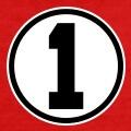 Numéro 1 carré écrit en gros caractère sur fond rond.