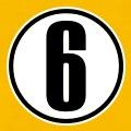Numéro 6, six inscrit au centre d'un cercle, motif vectoriel à imprimer en ligne.
