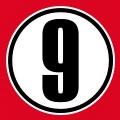 Numéro 9 à personnaliser, inscrit au centre d'un cercle opaque.