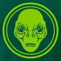 Alien aux traits détaillé, design personnalisable entouré d'un double cercle.