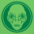 Tête d'alien classque stylisée découpée dans une forme ronde entourée d'un cercle épais.