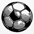 Ballon de foot à imprimer en ligne, avec faces hexagonales blanches et faces pentagonales noires.