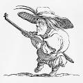 Petit personnage jouant du luth, image haute résolution spéciale impression t-shirts, adaptée d'une eau-forte de Jacques Callot.