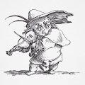 Violoniste, petit personnage jouant du violon, adaptation d'une gravure adaptée à l'impression sur t-shirts.