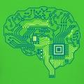 Cerveau composé de circuits électroniques, design geek personnalisable pour impression en ligne.