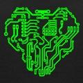 Circuit imprimé en forme de cœur, lignes fines et ronds de connexion une couleur.