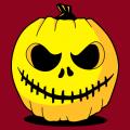 T-shirt Halloween, citrouille rigolote surmontée d'un chapeau / tige. Motif citrouille 3 couleurs original.
